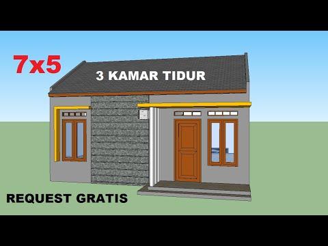 desain rumah minimalis 7x5 meter - 3 kamar tidur - YouTube