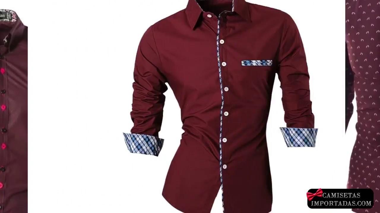 3531ea3c94 Camisas Masculinas Cor Vinho - YouTube