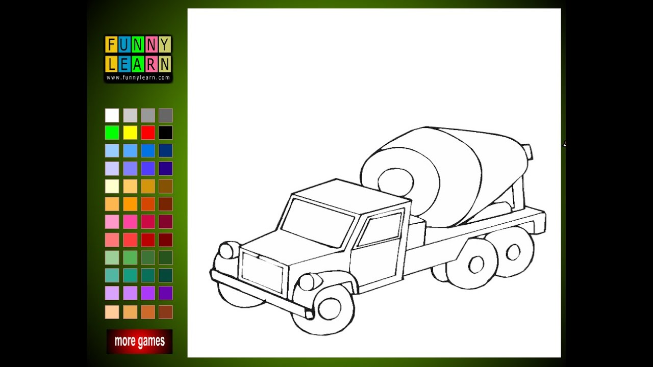 Cement Truck Coloring Pages For Kids