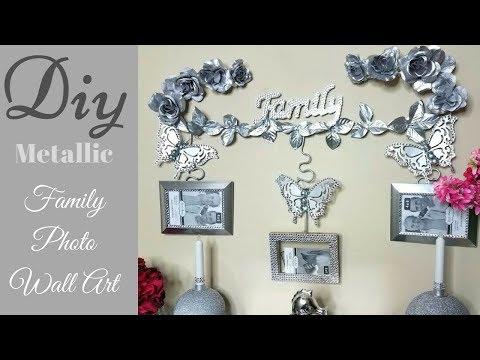 Diy Metallic Wall Decor For Family Photos| Dollar Tree Wall Decorating Idea!