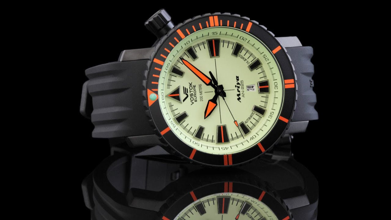 Vostok europe nh35a 5554234 mriya full lume dial automatic youtube for Vostok europe watches