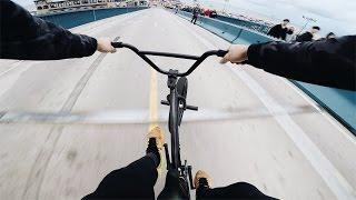 FAST BMX HILL BOMB AT LOS ANGELES PIER! *INTO TRAFFIC*