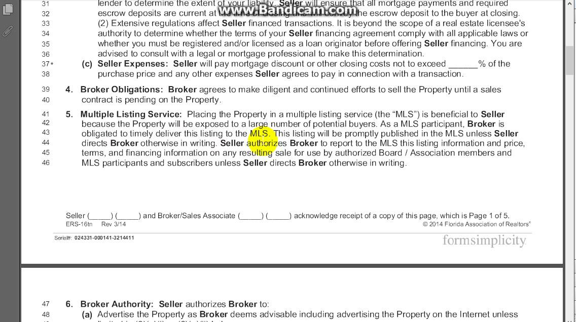 Exclusive Right Of Sale Listing Agreement Section 4 And Section 5