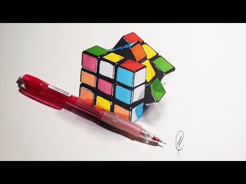 Rubik's Cube - Realistic Drawing (Speed Art)