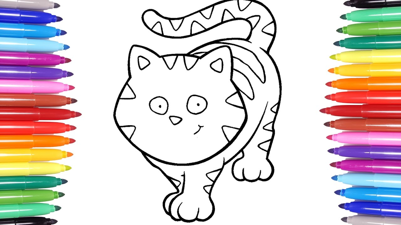 Animals Coloring Pages | Learn How To Color A Cat | Colouring Videos For  Kids