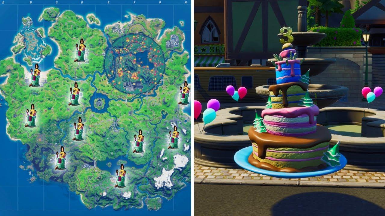 Birthday Cake Locations In Fortnite Season 4 Fortnite Birthday Challenges Youtube