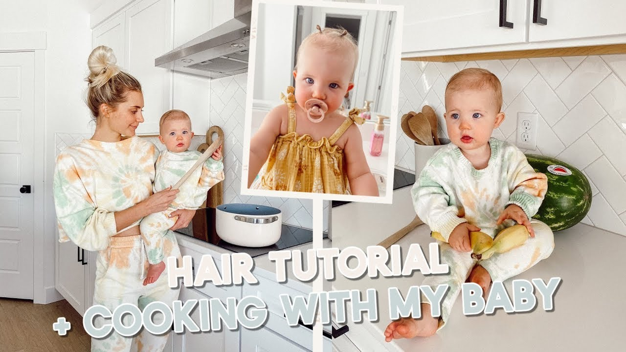 cooking with my baby + baby bun hair tutorial!