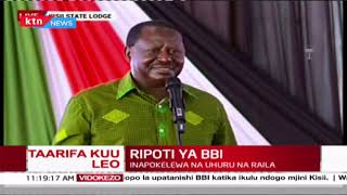 President Uhuru Kenyatta and Raila Odinga receive the final BBI report at Kisii State Lodge