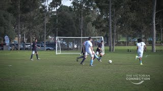 International uni students and Victoria Police connect with a soccer friendly