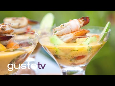 spiked gazpacho with lime shrimp   watt's on the grill