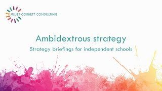 Ambidextrous strategy: cost cutting + innovation. Independent schools strategy video. Juliet Corbett