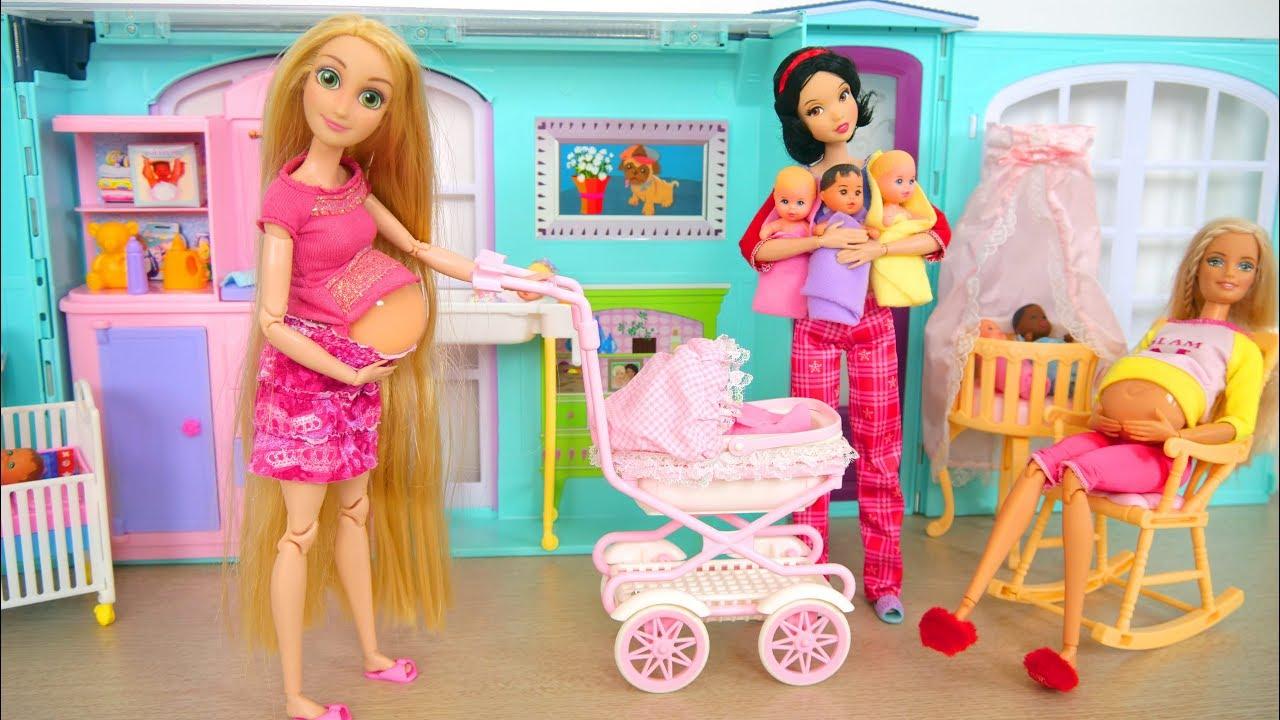 Talking Baby Stroller & Walking Barbie Nursery Playset ...