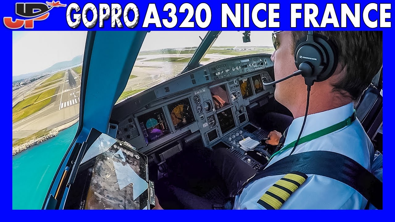 Aer Lingus Airbus A320 landing in Nice | Flight Deck GoPro View