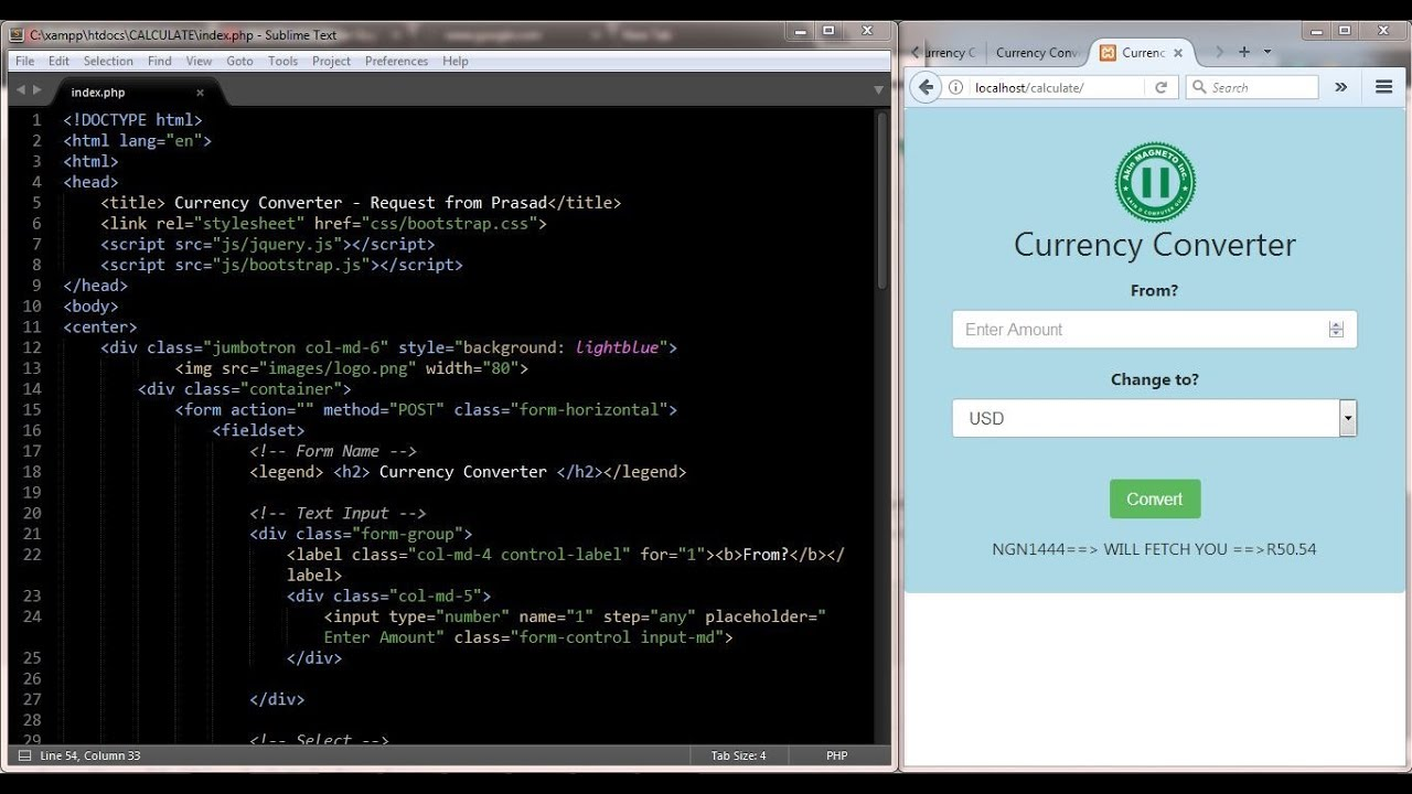 Design A Currency Converter Using Bootstrap Php Part