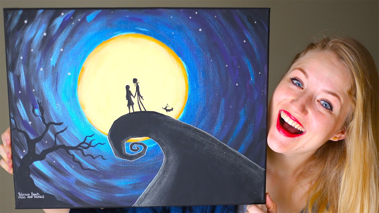 Painting A Nightmare Before Christmas Scene! GIVEAWAY! - YouTube