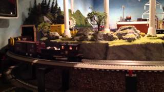 Lionel PRR K4 Steam Locomotive w/mixed Freight & Lionel Tinplate Backshop O-Gauge Layout