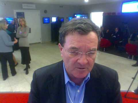 Jim Flaherty, Canada's Minister of Finance, answers a question on Haiti at Davos 2010