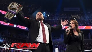 triple h reminds roman reigns why he s a 14 time wwe world heavyweight champion raw march 28 2016