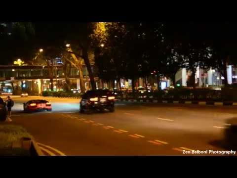 18 Lamborghinis Roaring Off After F1 2014 Singapore