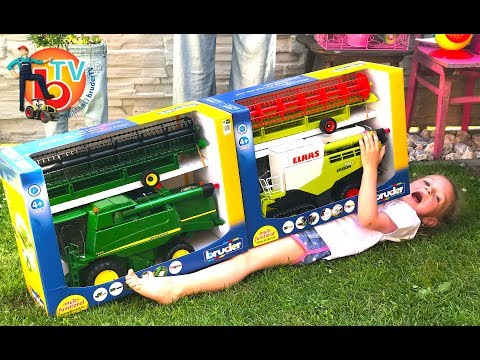BRUDER TOYS Traktor  Combine harvester - Live UNBOXING  | Kids videos |