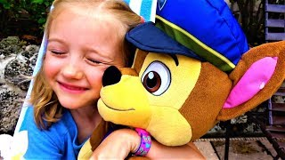 Funny Baby Polina playing with Paw Patrol toys