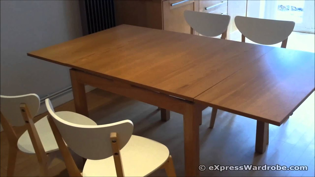 Ikea bjursta extendable dining table design youtube for Table extensible canada