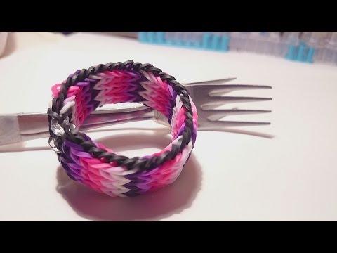 Браслет Тройной рыбий хвост, БЕЗ СТАНКА ,  Радужки Rainbow Loom