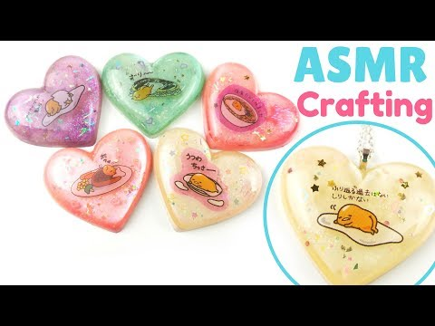 🎧ASMR/Watch Me Craft-Gudetama Resin Pieces-Soft Whispers, Crinkly Plastic (with music)