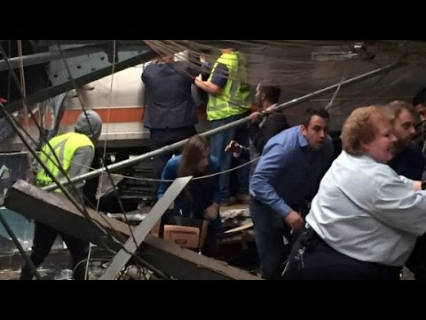 Train crashes in Hoboken, New Jersey