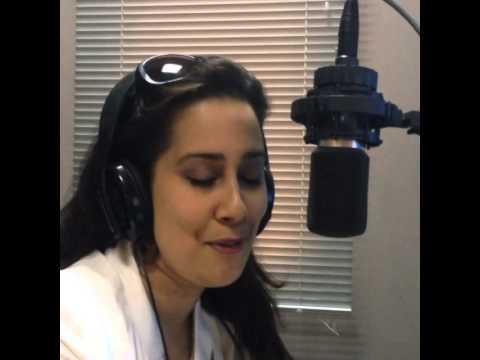 Monica Yunus recording her Light FM Lebanon Radio promo 19-6-14