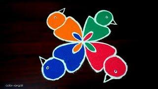 vuclip Beautiful birds rangoli kolam...!!!||4*4 dots