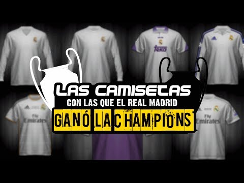 TODAS LAS CAMISETAS CON LAS QUE EL REAL MADRID HA GANADO LA CHAMPIONS LEAGUE 1956-2017