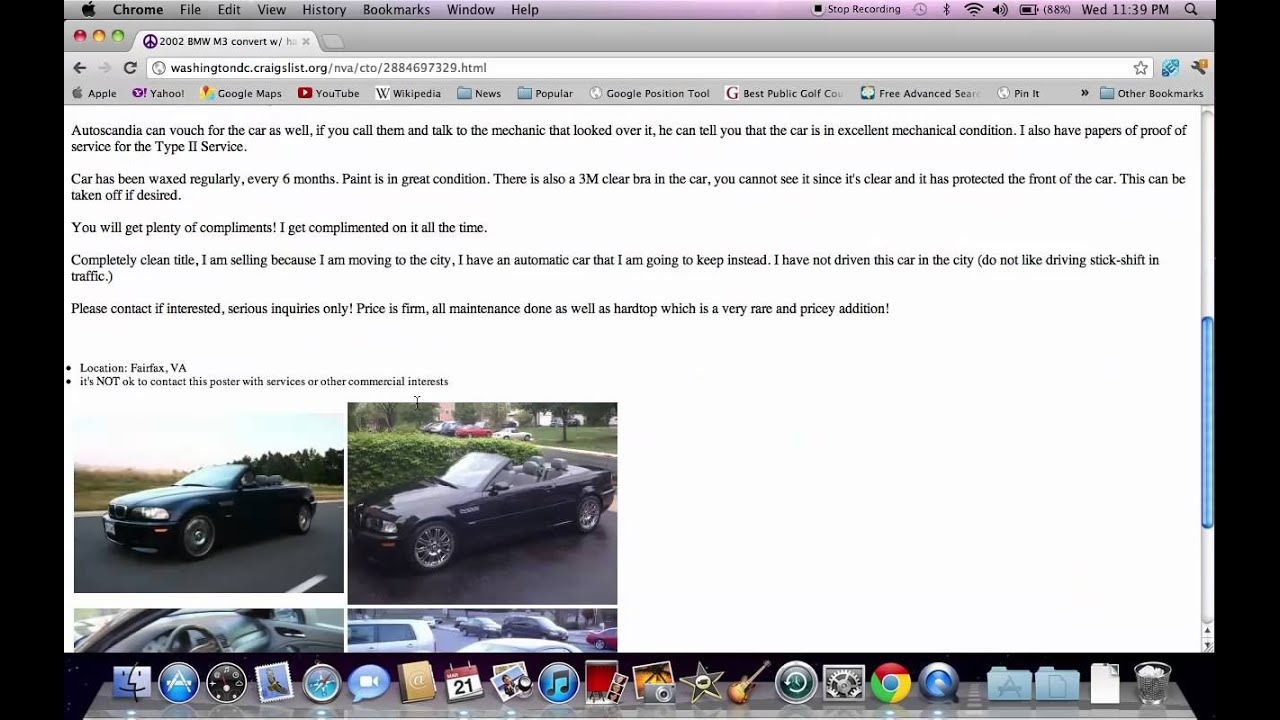Craigslist Dc Cars >> Craigslist Washington DC - For Sale By Owner Used Cars Available - YouTube