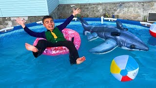 Diver Mr Joe On Lamborghini Huracan Dived Under Water In Pool Swimming With Shark For Children