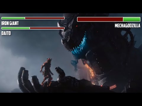 Iron Giant And Gundam Vs. Mechagodzilla WITH HEALTHBARS | HD | Ready Player One