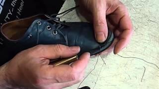 Восстановление внутреннего шва крючком. Ремонт обуви.