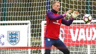 Joe Hart tests young goalkeeper Jordan Pickford   Inside Training