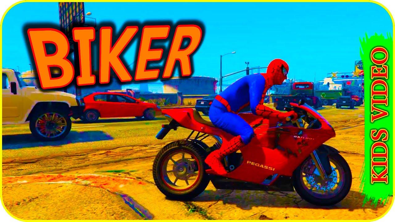 Biker Spiderman Brothers Dvive Sport Bike Show Kids Cartoon