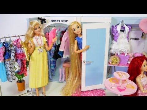 Barbie's shop Rapunzel & Snow White coming shop! Fitting room and nice clothes #Boutique