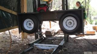 Homemade Bandsaw Mill Cutting Cherry