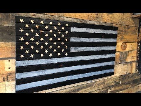 Shou Sugi Ban Gator Style Burnt Wood  American Flag Build - Not Complete Garbage!