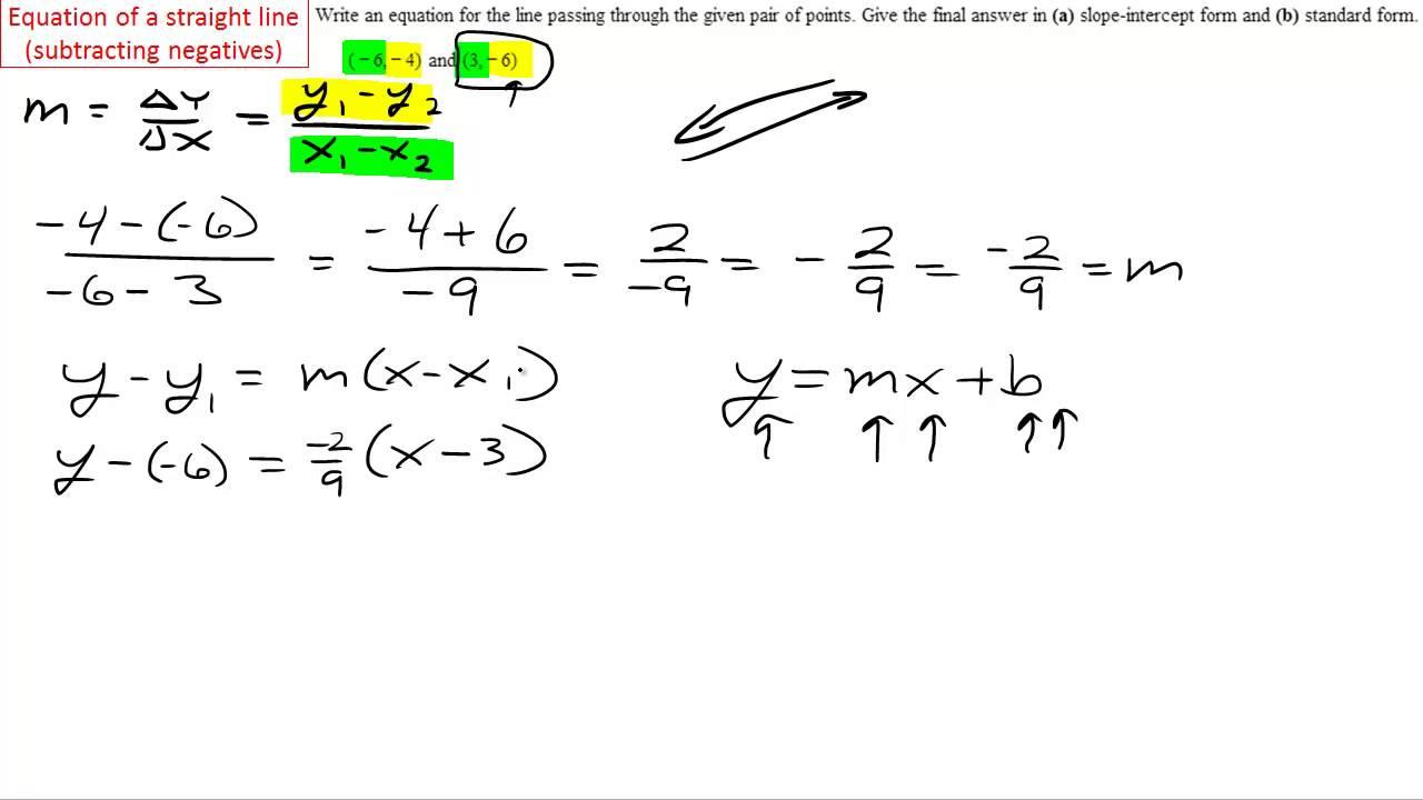 Algebra equation of a straight line subtracting negative numbers algebra equation of a straight line subtracting negative numbers falaconquin