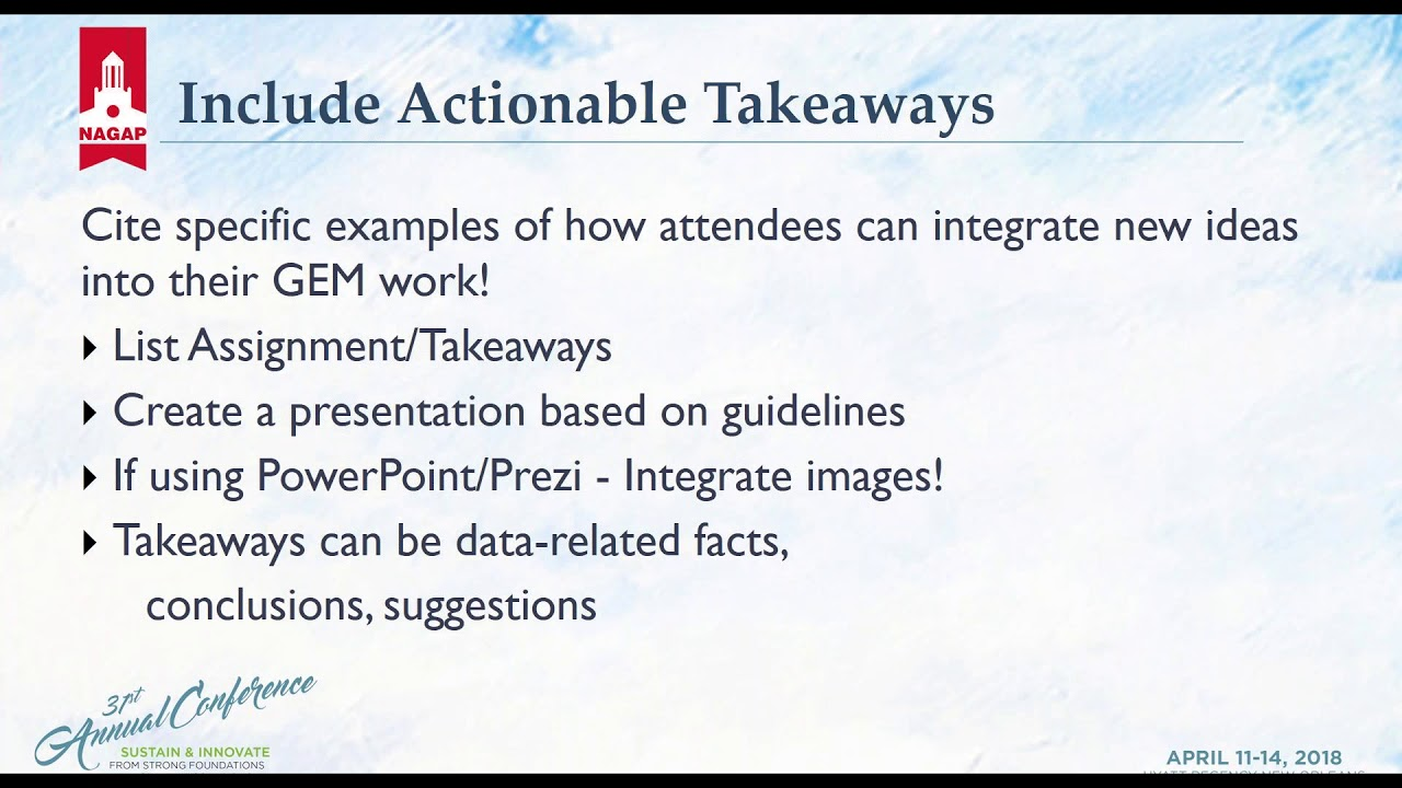 2018 02 15 13 04 Conference Presentation 101 Best Practices to Engage a GEM  Audience