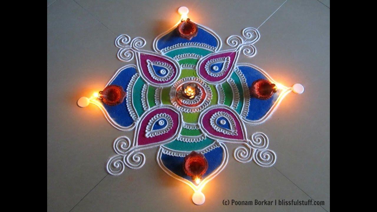 Beautiful and easy square shaped rangoli | Creative