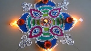 Beautiful and easy square shaped rangoli | Creative rangoli designs by Poonam Borkar