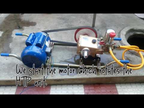 Amazing water jet wash with HTP pump and electric motor  (Installation/Demo)