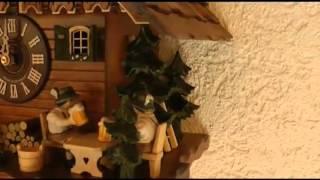 5 8868 01 C 8 Day Musical Alpine Cabin With Beer Drinkers Cuckoo Clock