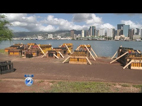 Preparations for Aloha Tower and Waikiki shows