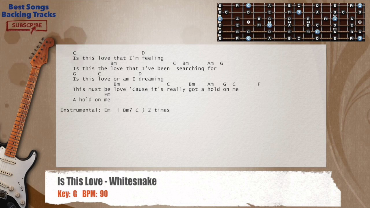 Is This Love Whitesnake Guitar Backing Track With Chords And