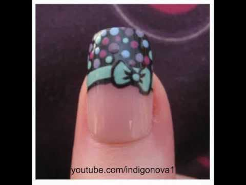 Retro Bow and Polka Dot Tip Nail Art Tutorial